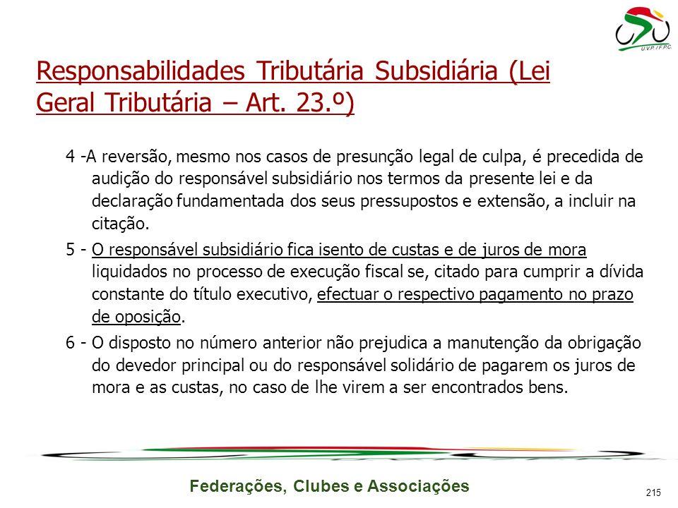 Federações, Clubes e Associações Responsabilidades Tributária Subsidiária (Lei Geral Tributária – Art.