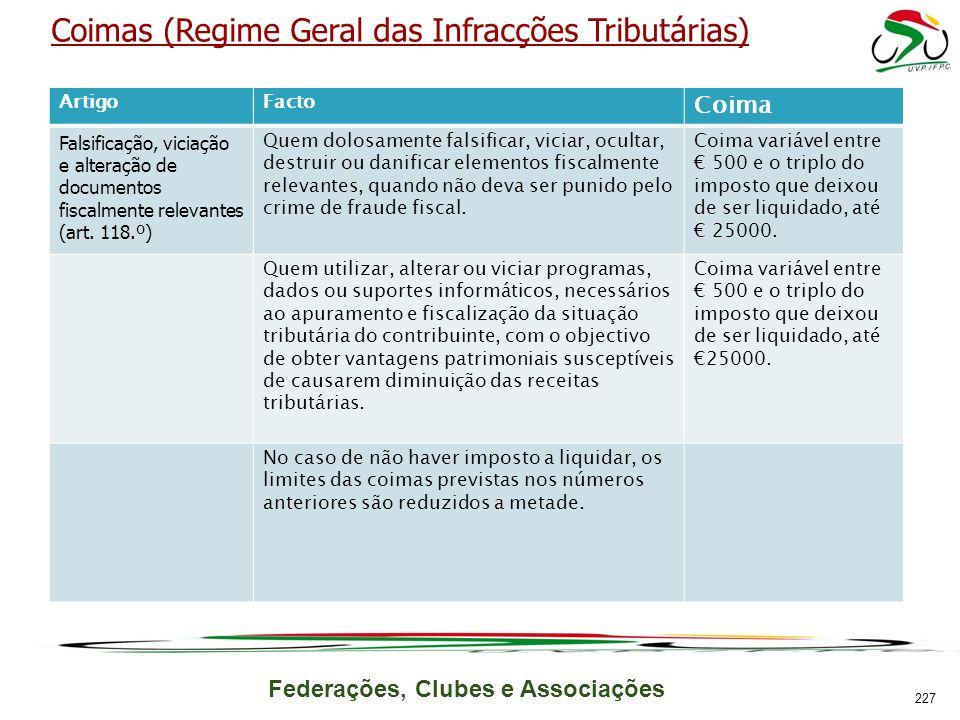 Federações, Clubes e Associações Coimas (Regime Geral das Infracções Tributárias) ArtigoFacto Coima Falsificação, viciação e alteração de documentos fiscalmente relevantes (art.