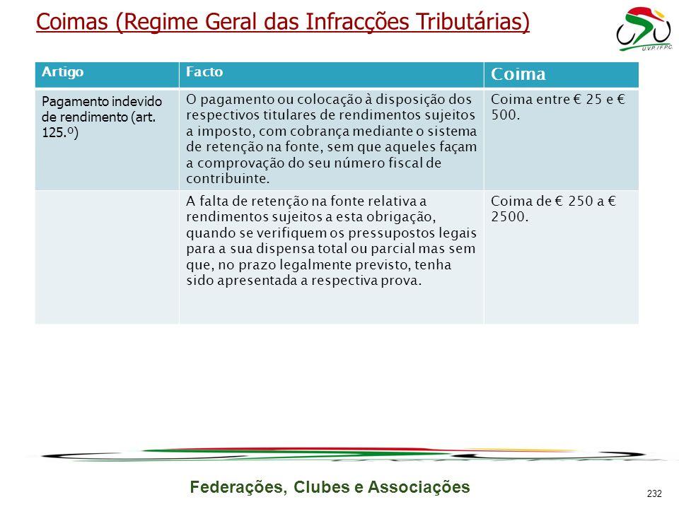 Federações, Clubes e Associações Coimas (Regime Geral das Infracções Tributárias) ArtigoFacto Coima Pagamento indevido de rendimento (art. 125.º) O pa