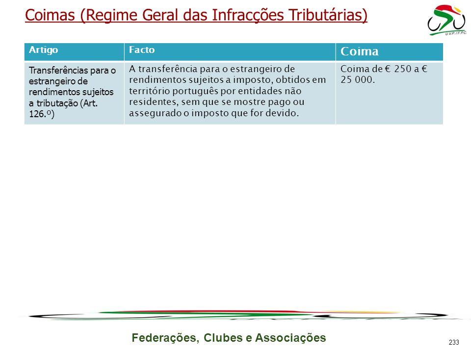 Federações, Clubes e Associações Coimas (Regime Geral das Infracções Tributárias) ArtigoFacto Coima Transferências para o estrangeiro de rendimentos sujeitos a tributação (Art.