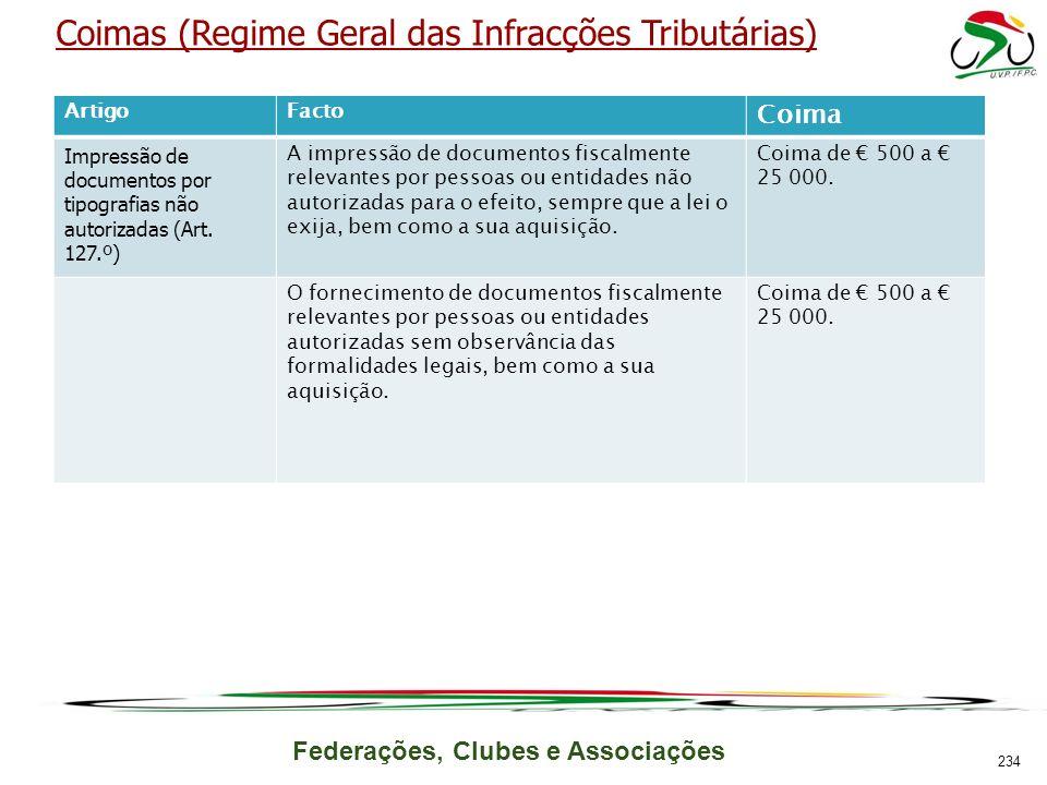Federações, Clubes e Associações Coimas (Regime Geral das Infracções Tributárias) ArtigoFacto Coima Impressão de documentos por tipografias não autorizadas (Art.