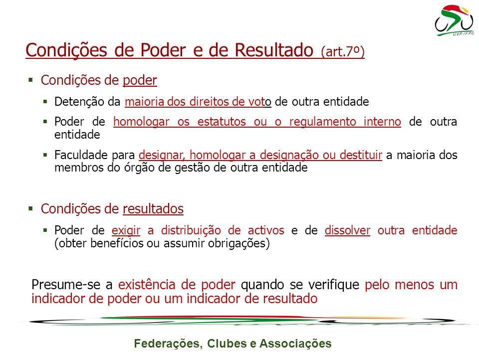 Federações, Clubes e Associações Condições de poder Detenção da maioria dos direitos de voto de outra entidade Poder de homologar os estatutos ou o re