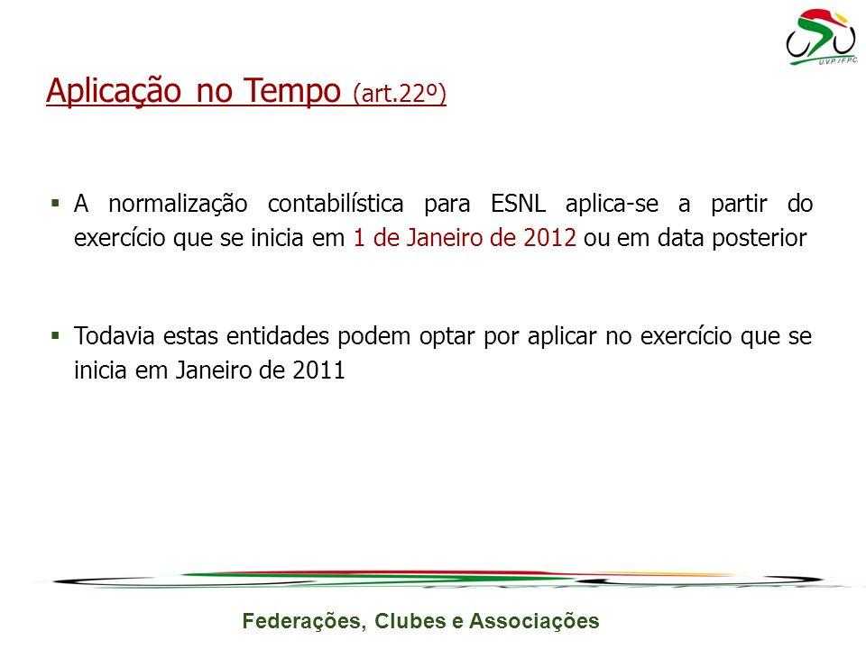 Federações, Clubes e Associações A normalização contabilística para ESNL aplica-se a partir do exercício que se inicia em 1 de Janeiro de 2012 ou em d