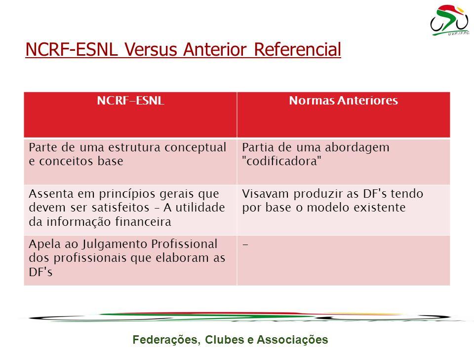 Federações, Clubes e Associações NCRF-ESNL Versus Anterior Referencial NCRF-ESNLNormas Anteriores Parte de uma estrutura conceptual e conceitos base P