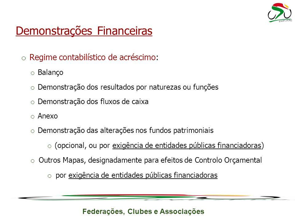 Federações, Clubes e Associações o Regime contabilístico de acréscimo: o Balanço o Demonstração dos resultados por naturezas ou funções o Demonstração