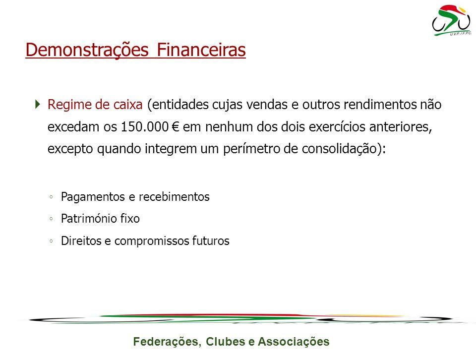 Federações, Clubes e Associações Regime de caixa (entidades cujas vendas e outros rendimentos não excedam os 150.000 em nenhum dos dois exercícios ant