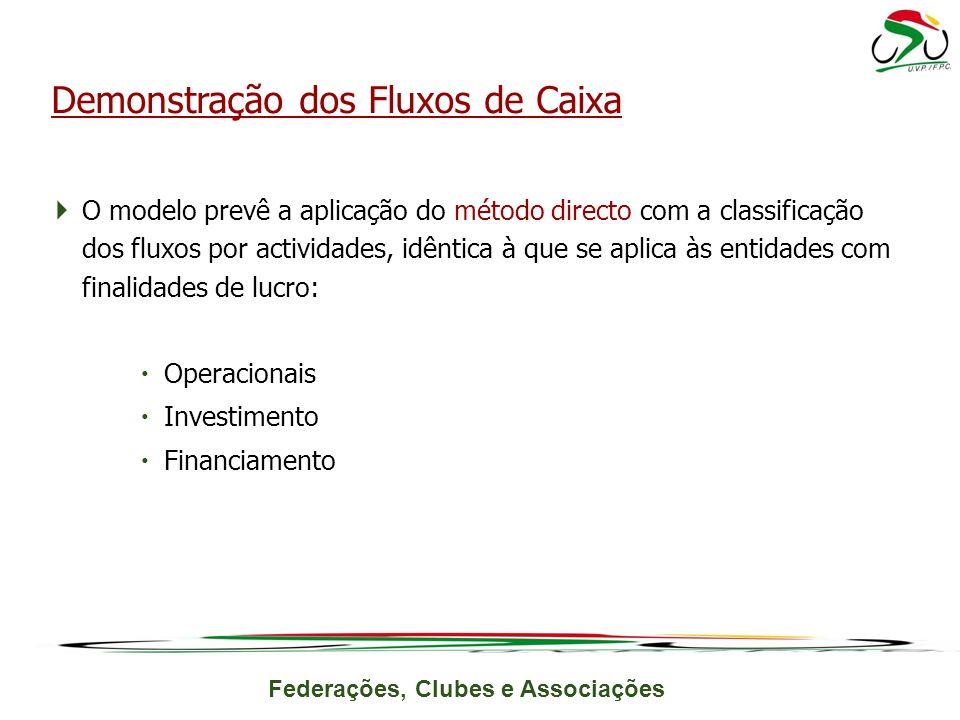 Federações, Clubes e Associações O modelo prevê a aplicação do método directo com a classificação dos fluxos por actividades, idêntica à que se aplica às entidades com finalidades de lucro: Operacionais Investimento Financiamento Demonstração dos Fluxos de Caixa