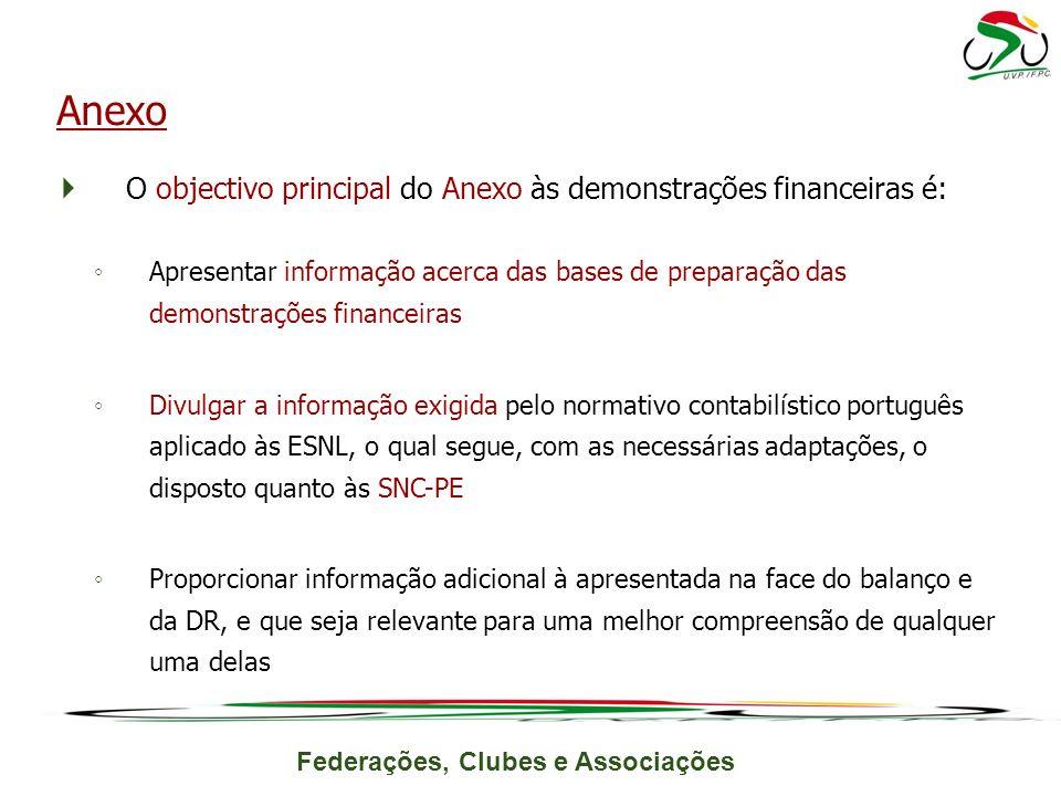 Federações, Clubes e Associações O objectivo principal do Anexo às demonstrações financeiras é: Apresentar informação acerca das bases de preparação d
