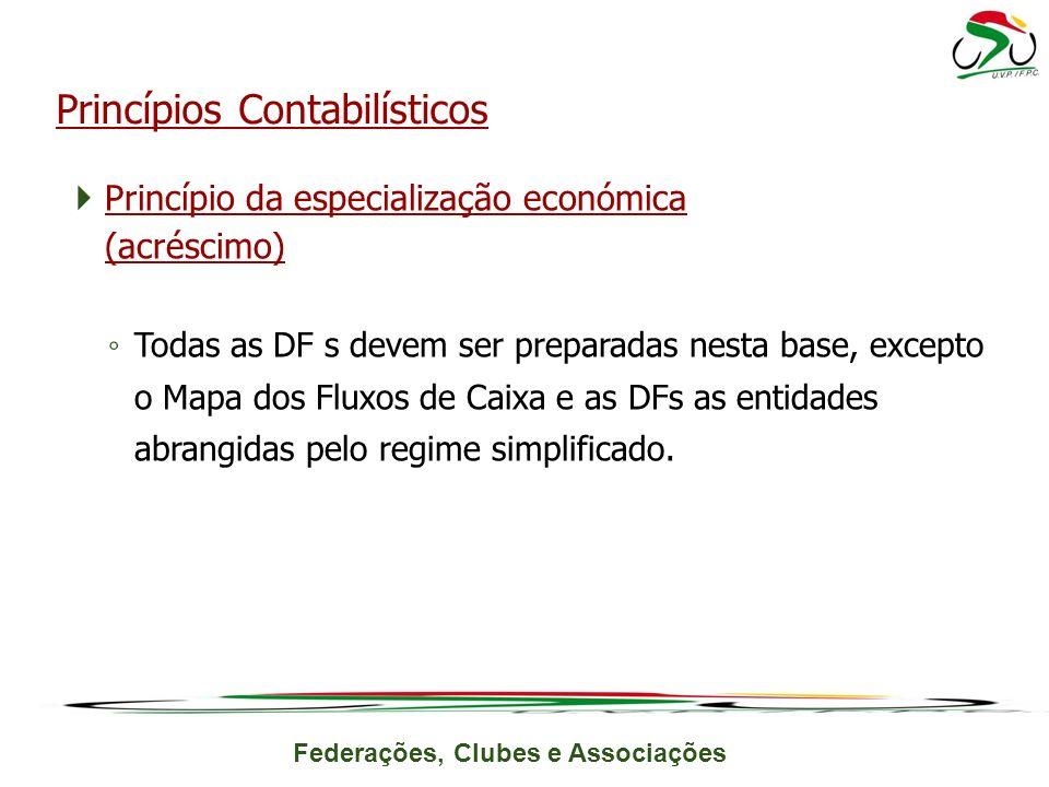 Federações, Clubes e Associações Princípio da especialização económica (acréscimo) Todas as DF s devem ser preparadas nesta base, excepto o Mapa dos Fluxos de Caixa e as DFs as entidades abrangidas pelo regime simplificado.