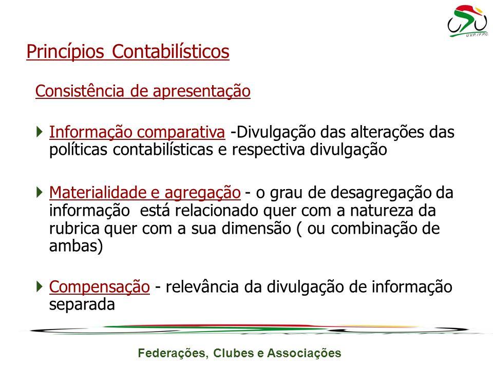 Federações, Clubes e Associações Consistência de apresentação Informação comparativa -Divulgação das alterações das políticas contabilísticas e respec