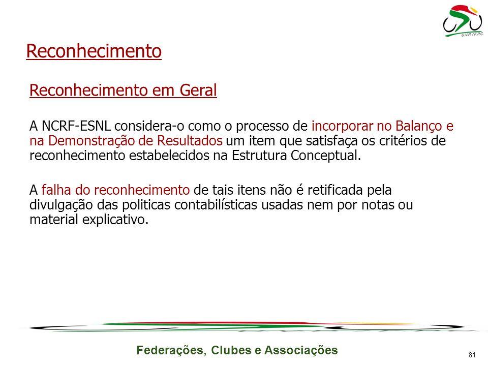 Federações, Clubes e Associações Reconhecimento Reconhecimento em Geral A NCRF-ESNL considera-o como o processo de incorporar no Balanço e na Demonstr
