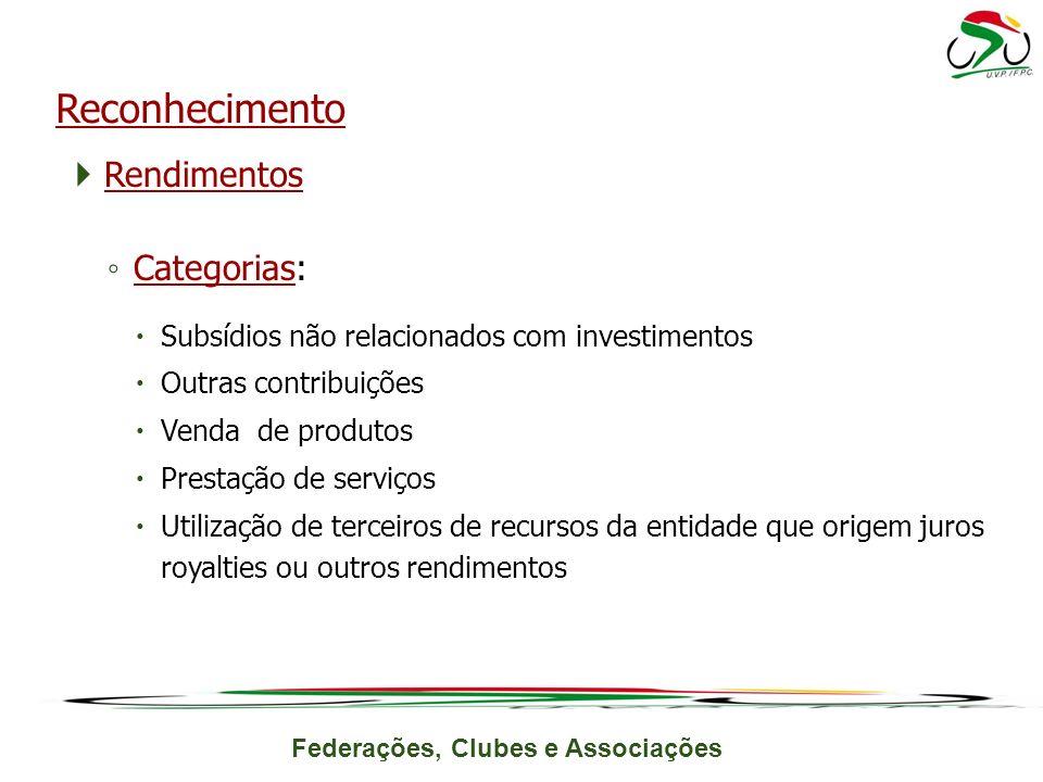 Federações, Clubes e Associações Rendimentos Categorias: Subsídios não relacionados com investimentos Outras contribuições Venda de produtos Prestação de serviços Utilização de terceiros de recursos da entidade que origem juros royalties ou outros rendimentos Reconhecimento