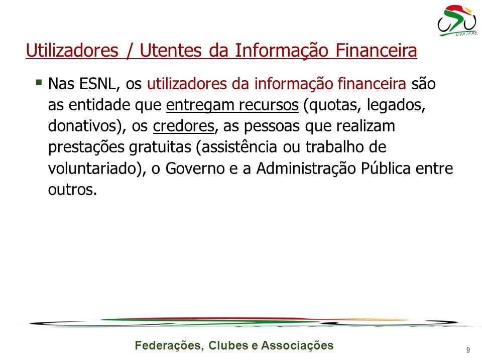 Federações, Clubes e Associações Utilizadores / Utentes da Informação Financeira Nas ESNL, os utilizadores da informação financeira são as entidade qu