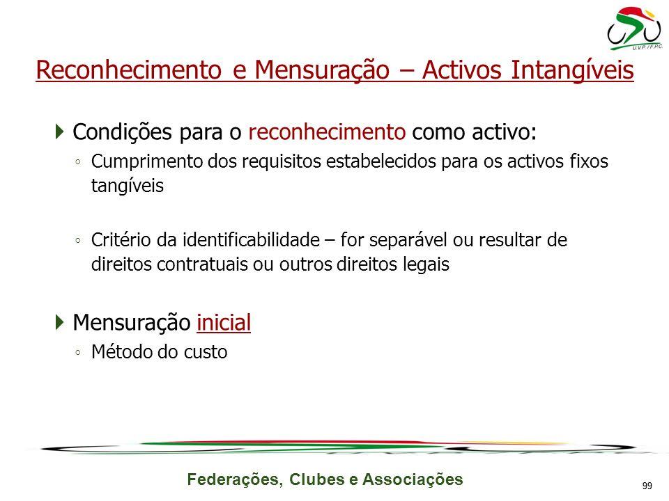 Federações, Clubes e Associações Condições para o reconhecimento como activo: Cumprimento dos requisitos estabelecidos para os activos fixos tangíveis