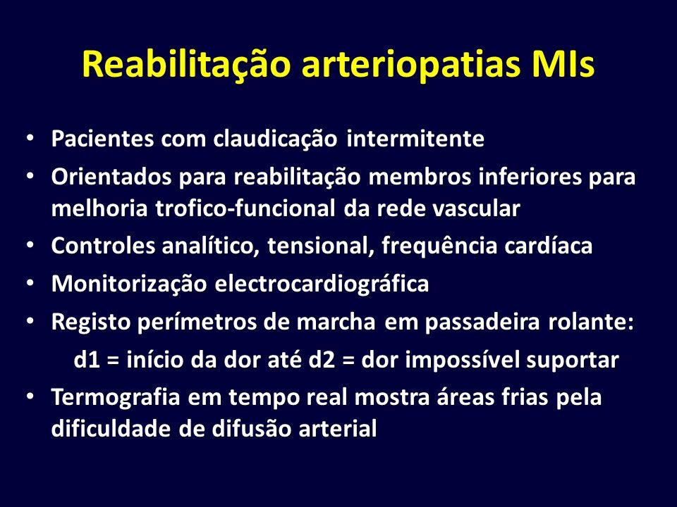 Reabilitação arteriopatias MIs Pacientes com claudicação intermitente Pacientes com claudicação intermitente Orientados para reabilitação membros infe