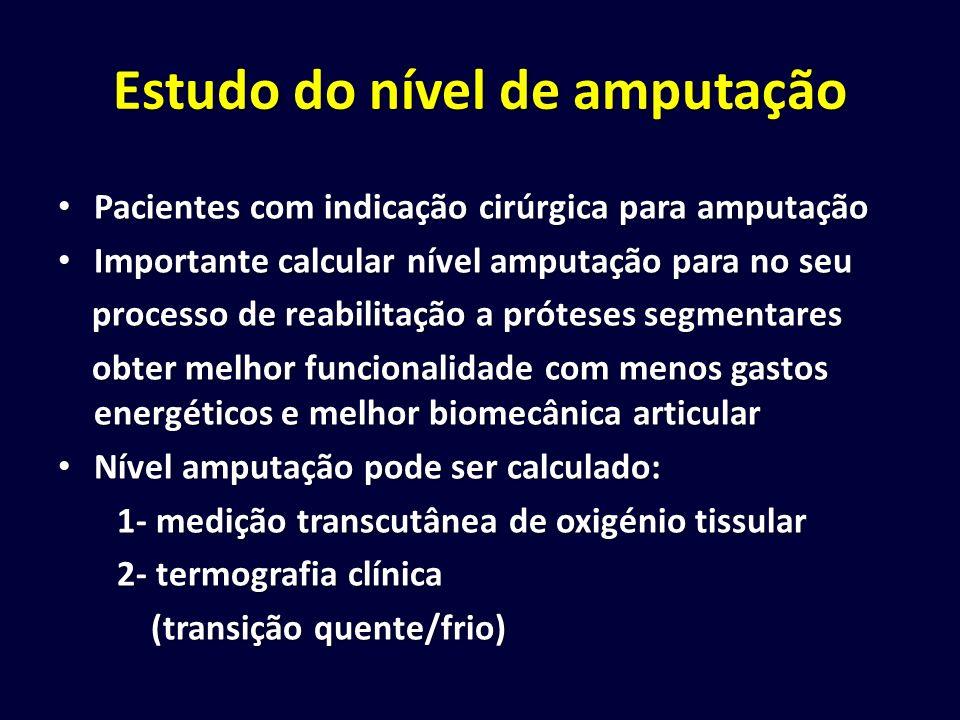 Estudo do nível de amputação Pacientes com indicação cirúrgica para amputação Pacientes com indicação cirúrgica para amputação Importante calcular nív