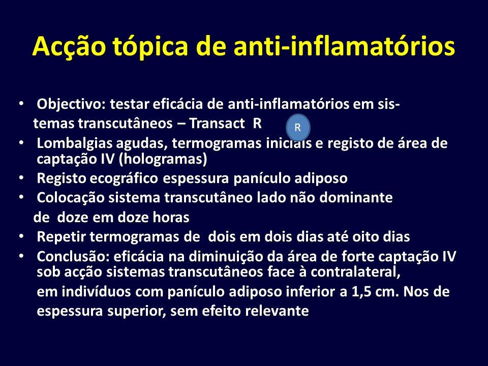 Acção tópica de anti-inflamatórios Objectivo: testar eficácia de anti-inflamatórios em sis- Objectivo: testar eficácia de anti-inflamatórios em sis- t