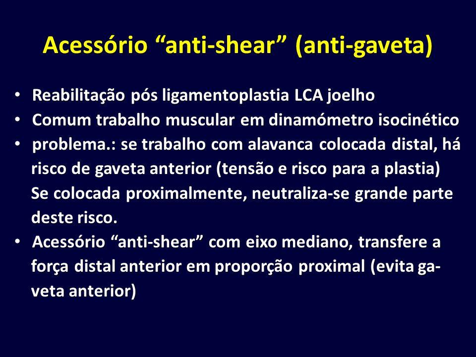 Acessório anti-shear (anti-gaveta) Reabilitação pós ligamentoplastia LCA joelho Reabilitação pós ligamentoplastia LCA joelho Comum trabalho muscular e