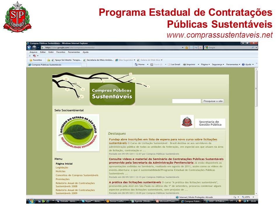 Programa Estadual de Contratações Públicas Sustentáveis www.comprassustentaveis.net