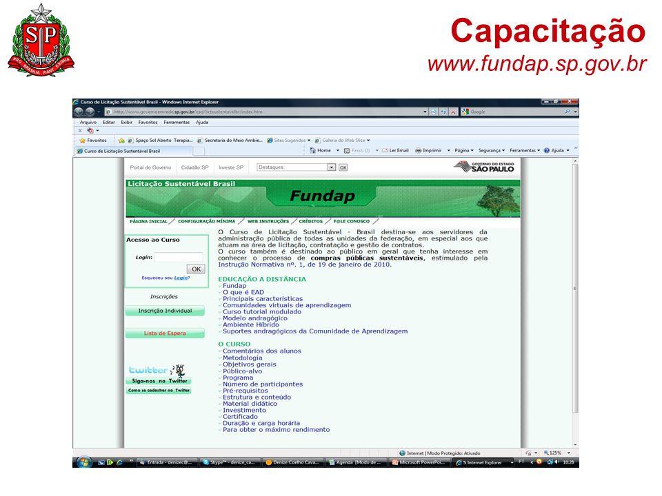 Capacitação www.fundap.sp.gov.br