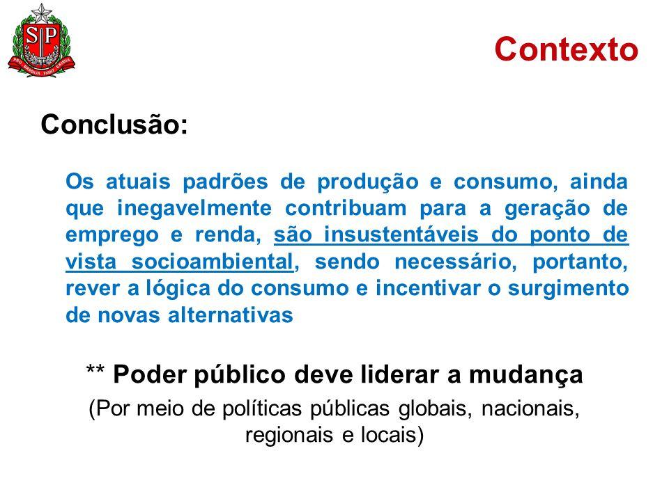 Contexto A Administração Pública: É grande consumidora de recursos naturais Tem papel estratégico na promoção e indicação de novos padrões de produção e consumo Deve servir de exemplo na redução de impactos socioambientais negativos gerados pela atividade pública