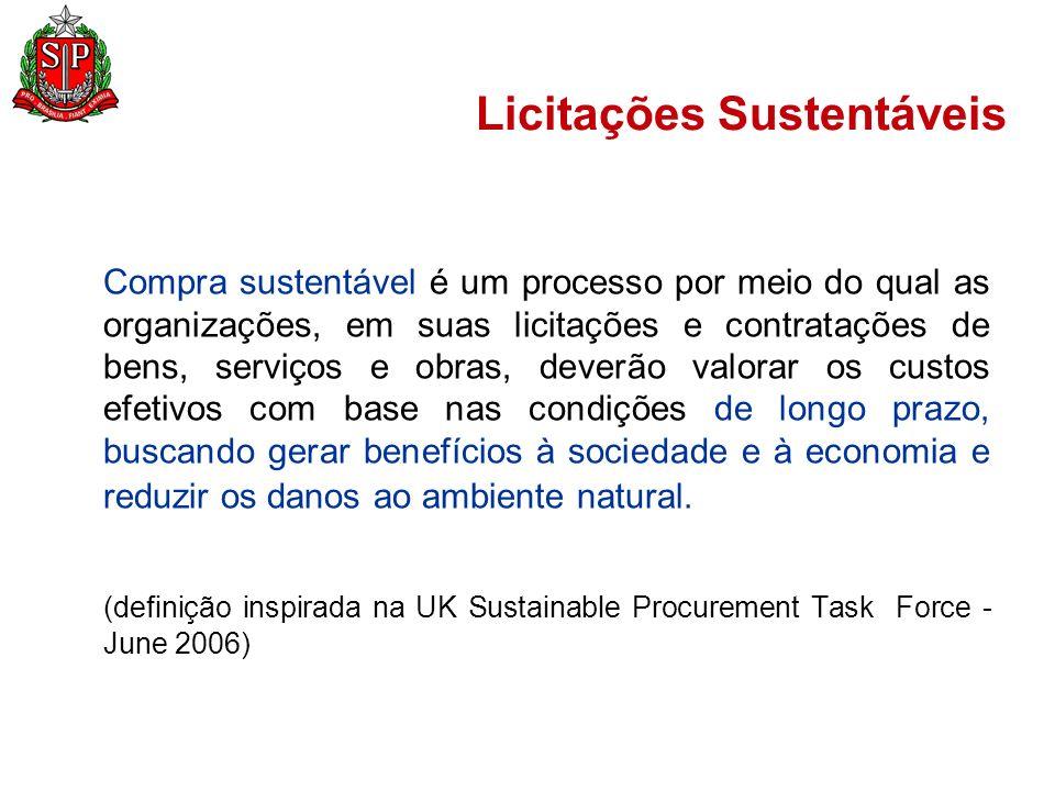 Licitações Sustentáveis Arcabouço Normativo: Constituição da República de 1988 Artigo 37 Artigo 170 Artigo 225 Legislação Infraconstitucional Lei nº 8.666/93 Lei nº 6.938/81 (PNMA) Lei nº 9.605/98 (Sanções Administrativas Ambientais) Lei nº 12.305/2010 (PNRS) Lei nº 12.462/2011 (RDC)