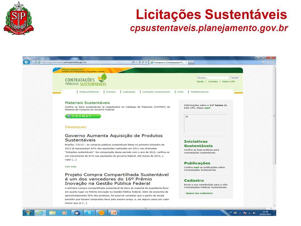 Licitações Sustentáveis cpsustentaveis.planejamento.gov.br