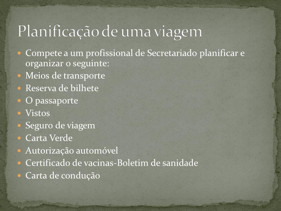 Compete a um profissional de Secretariado planificar e organizar o seguinte: Meios de transporte Reserva de bilhete O passaporte Vistos Seguro de viagem Carta Verde Autorização automóvel Certificado de vacinas-Boletim de sanidade Carta de condução