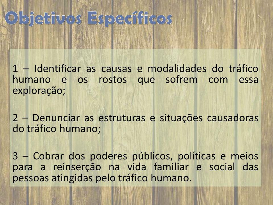 1 – Identificar as causas e modalidades do tráfico humano e os rostos que sofrem com essa exploração; 2 – Denunciar as estruturas e situações causador