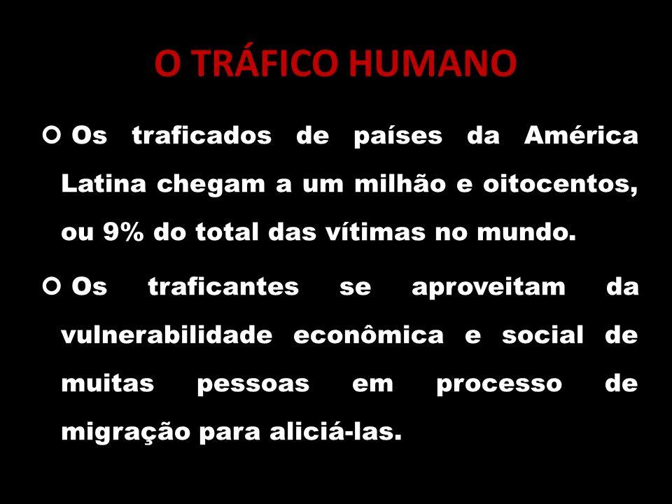 O TRÁFICO HUMANO Os traficados de países da América Latina chegam a um milhão e oitocentos, ou 9% do total das vítimas no mundo. Os traficantes se apr
