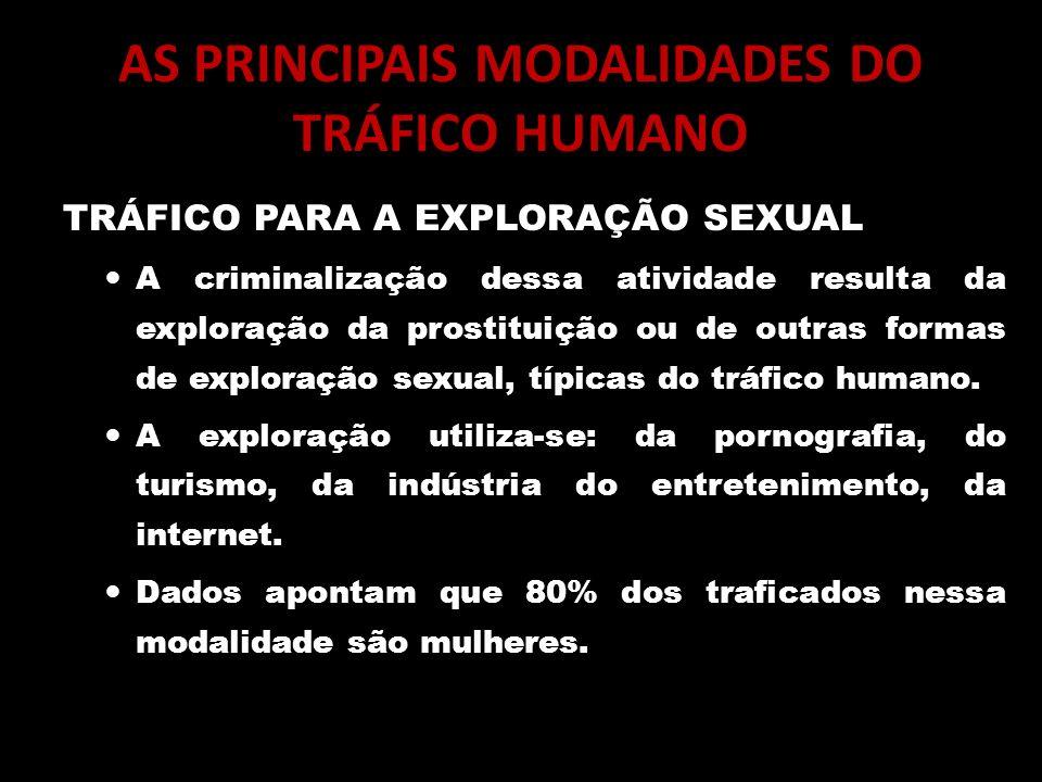 AS PRINCIPAIS MODALIDADES DO TRÁFICO HUMANO TRÁFICO PARA A EXPLORAÇÃO SEXUAL A criminalização dessa atividade resulta da exploração da prostituição ou