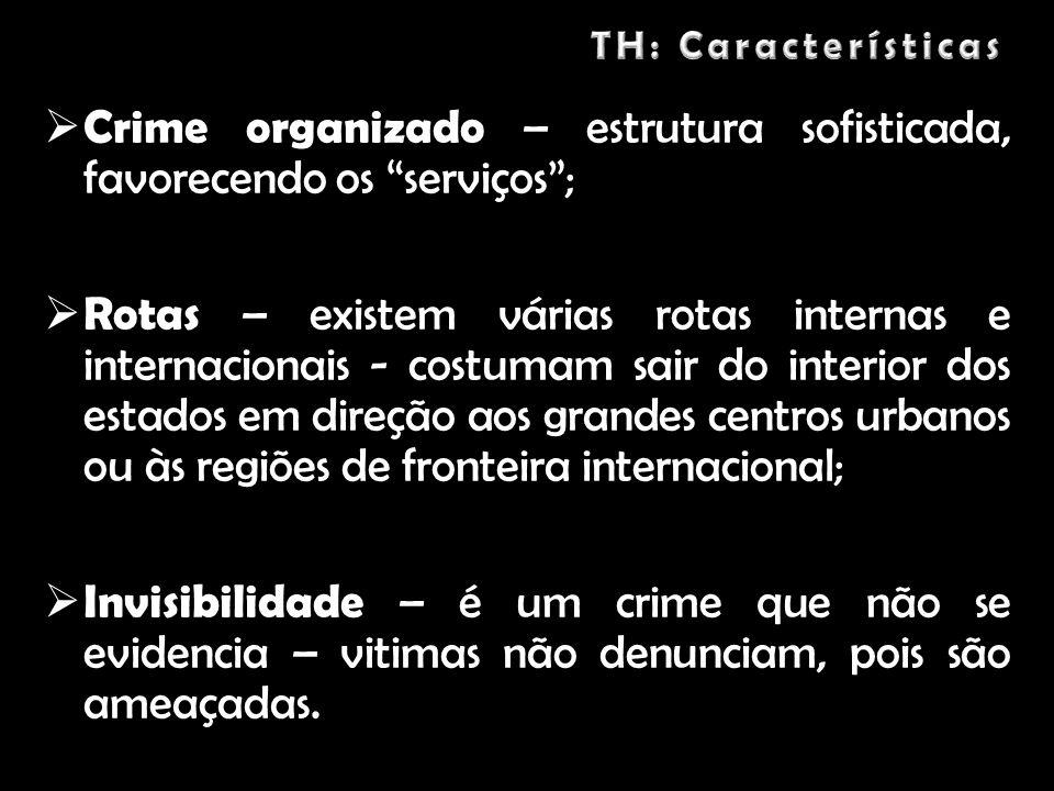 Crime organizado – estrutura sofisticada, favorecendo os serviços; Rotas – existem várias rotas internas e internacionais - costumam sair do interior