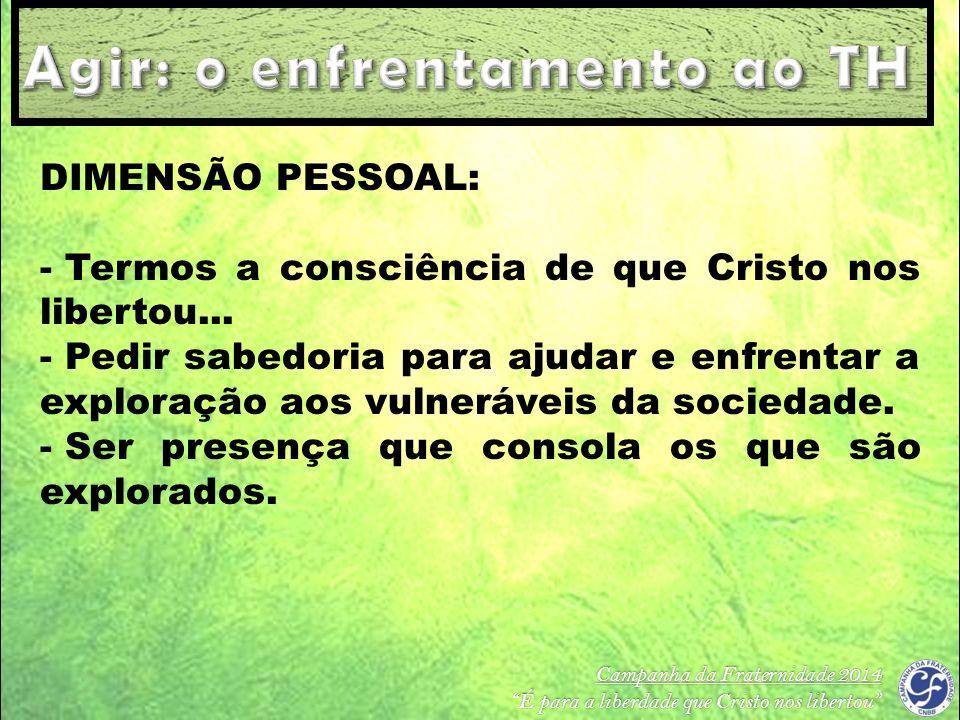 Campanha da Fraternidade 2014 É para a liberdade que Cristo nos libertou DIMENSÃO PESSOAL: - Termos a consciência de que Cristo nos libertou... - Pedi