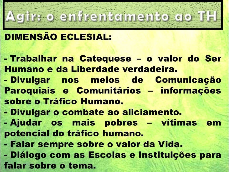 DIMENSÃO ECLESIAL: - Trabalhar na Catequese – o valor do Ser Humano e da Liberdade verdadeira. - Divulgar nos meios de Comunicação Paroquiais e Comuni