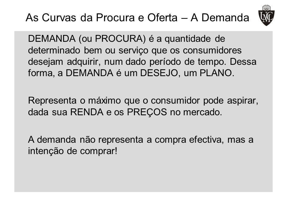 As Curvas da Procura e Oferta – A Demanda DEMANDA (ou PROCURA) é a quantidade de determinado bem ou serviço que os consumidores desejam adquirir, num