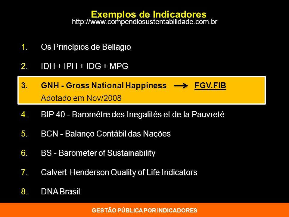 Exemplos de Indicadores 1. Os Princípios de Bellagio 2. IDH + IPH + IDG + MPG 3.GNH - Gross National Happiness FGV.FIB Adotado em Nov/2008 4. BIP 40 -