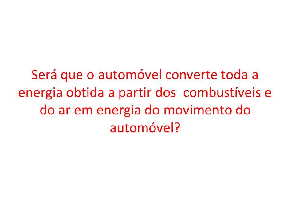Será que o automóvel converte toda a energia obtida a partir dos combustíveis e do ar em energia do movimento do automóvel?