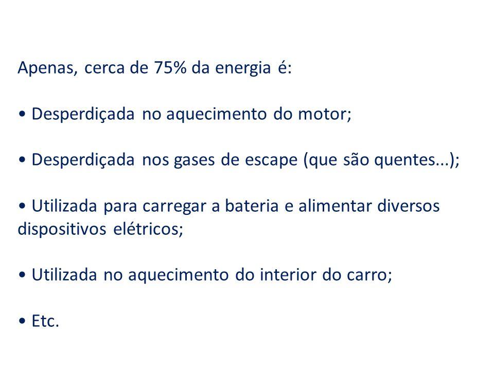 Apenas, cerca de 75% da energia é: Desperdiçada no aquecimento do motor; Desperdiçada nos gases de escape (que são quentes...); Utilizada para carrega