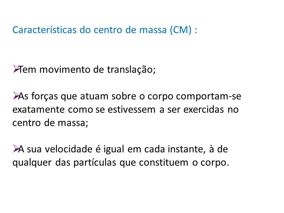 Características do centro de massa (CM) : Tem movimento de translação; As forças que atuam sobre o corpo comportam-se exatamente como se estivessem a