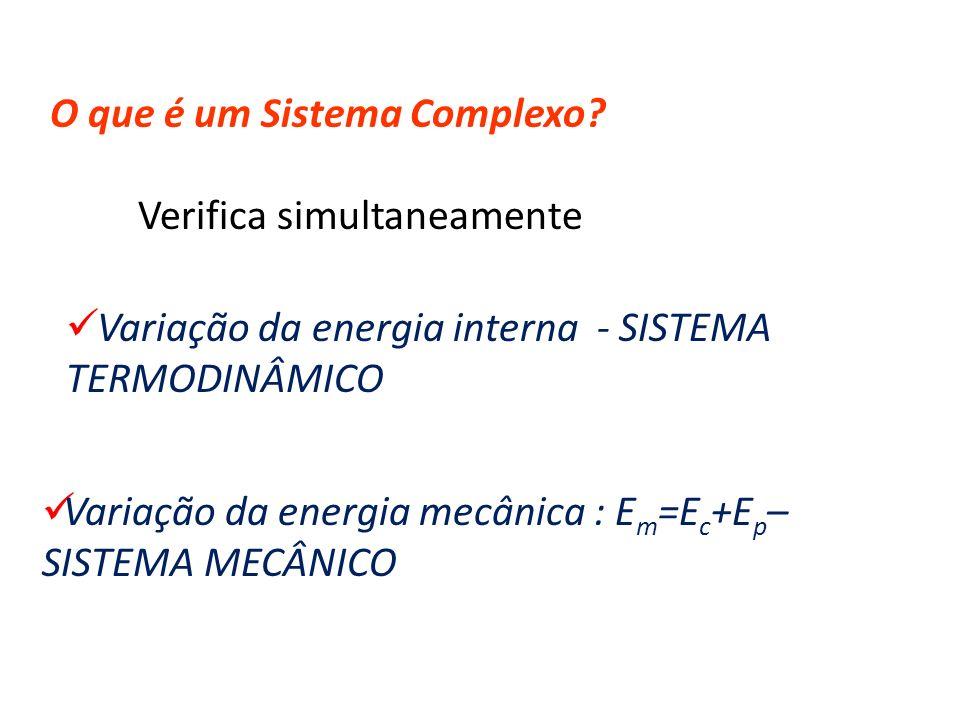O que é um Sistema Complexo? Variação da energia interna - SISTEMA TERMODINÂMICO Variação da energia mecânica : E m =E c +E p – SISTEMA MECÂNICO Verif