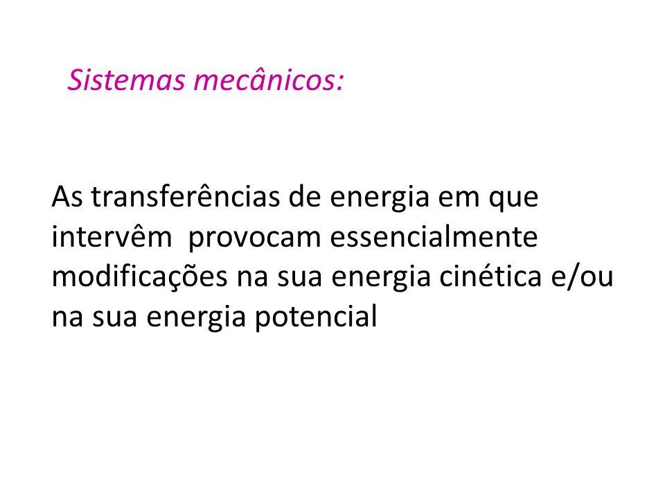 Sistemas mecânicos: As transferências de energia em que intervêm provocam essencialmente modificações na sua energia cinética e/ou na sua energia pote