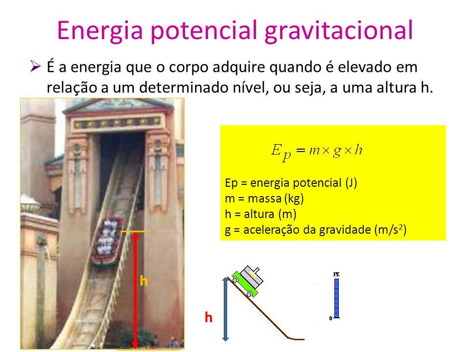 Energia potencial gravitacional É a energia que o corpo adquire quando é elevado em relação a um determinado nível, ou seja, a uma altura h. Ep = ener