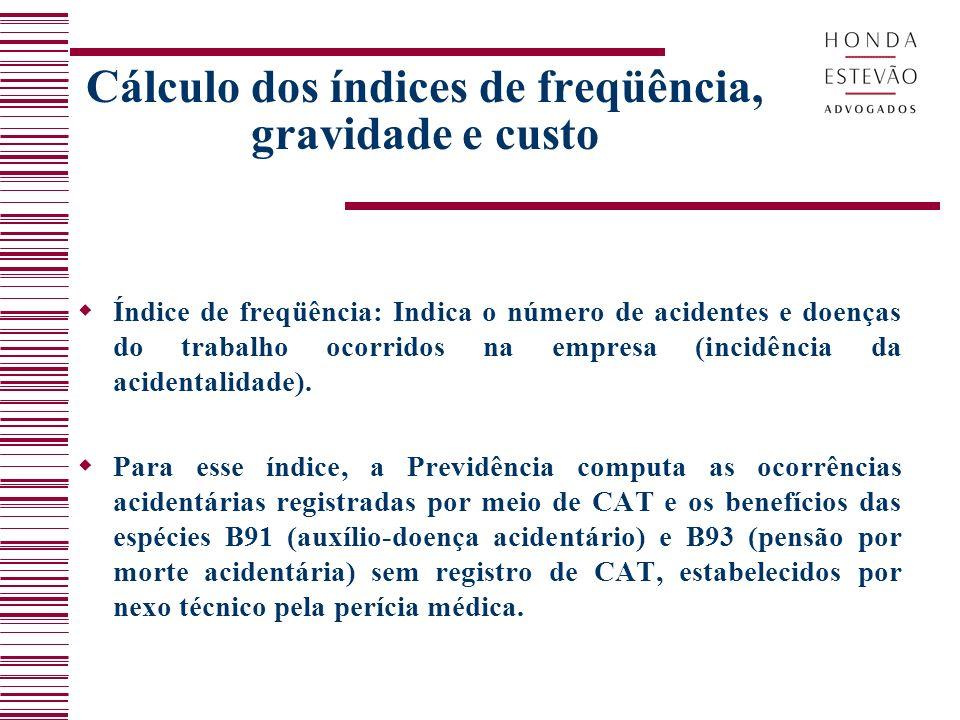 Cálculo dos índices de freqüência, gravidade e custo Índice de freqüência: Indica o número de acidentes e doenças do trabalho ocorridos na empresa (incidência da acidentalidade).