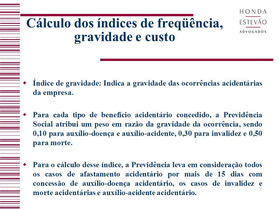 Cálculo dos índices de freqüência, gravidade e custo Índice de gravidade: Indica a gravidade das ocorrências acidentárias da empresa. Para cada tipo d