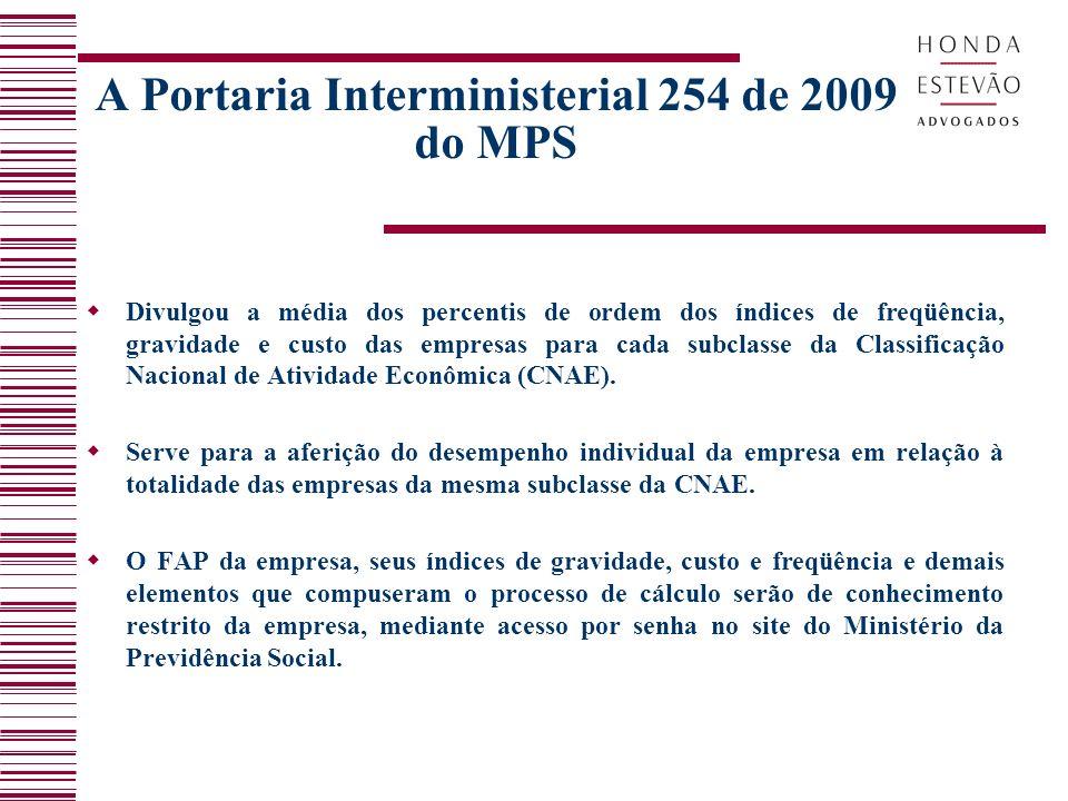 A Portaria Interministerial 254 de 2009 do MPS Divulgou a média dos percentis de ordem dos índices de freqüência, gravidade e custo das empresas para cada subclasse da Classificação Nacional de Atividade Econômica (CNAE).