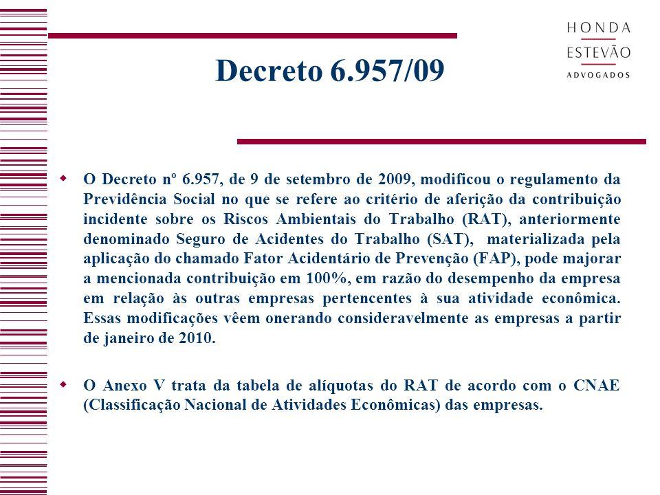 Decreto 6.957/09 O Decreto nº 6.957, de 9 de setembro de 2009, modificou o regulamento da Previdência Social no que se refere ao critério de aferição da contribuição incidente sobre os Riscos Ambientais do Trabalho (RAT), anteriormente denominado Seguro de Acidentes do Trabalho (SAT), materializada pela aplicação do chamado Fator Acidentário de Prevenção (FAP), pode majorar a mencionada contribuição em 100%, em razão do desempenho da empresa em relação às outras empresas pertencentes à sua atividade econômica.