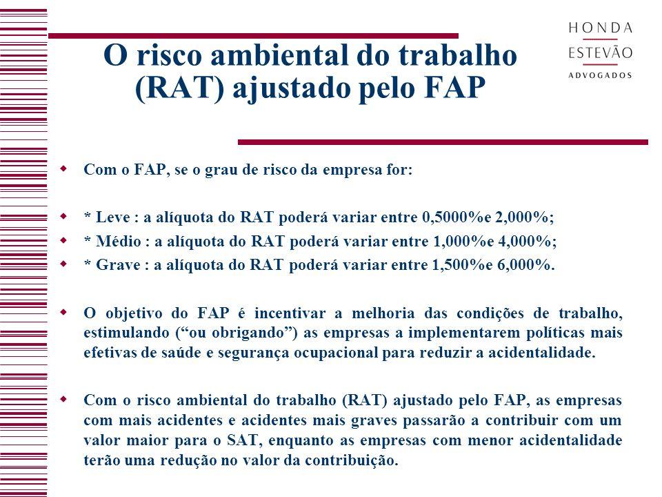 O risco ambiental do trabalho (RAT) ajustado pelo FAP Com o FAP, se o grau de risco da empresa for: * Leve : a alíquota do RAT poderá variar entre 0,5000%e 2,000%; * Médio : a alíquota do RAT poderá variar entre 1,000%e 4,000%; * Grave : a alíquota do RAT poderá variar entre 1,500%e 6,000%.