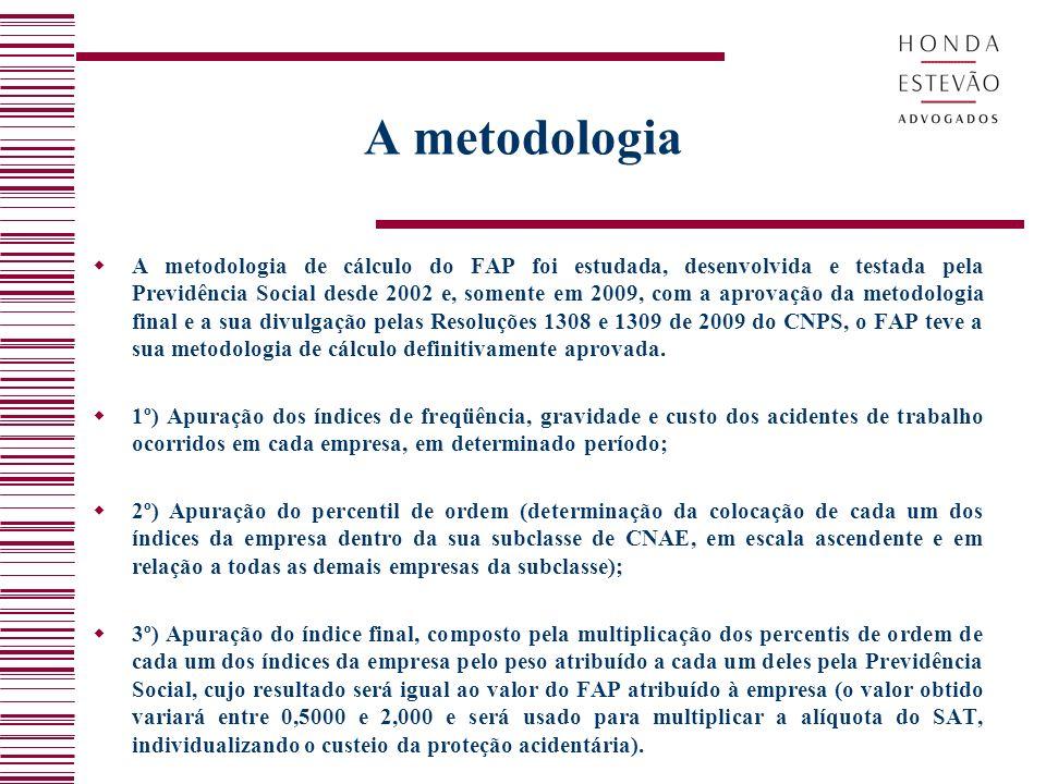 A metodologia A metodologia de cálculo do FAP foi estudada, desenvolvida e testada pela Previdência Social desde 2002 e, somente em 2009, com a aprova
