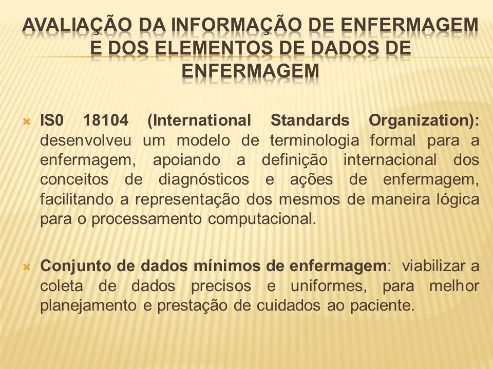 IS0 18104 (International Standards Organization): desenvolveu um modelo de terminologia formal para a enfermagem, apoiando a definição internacional d