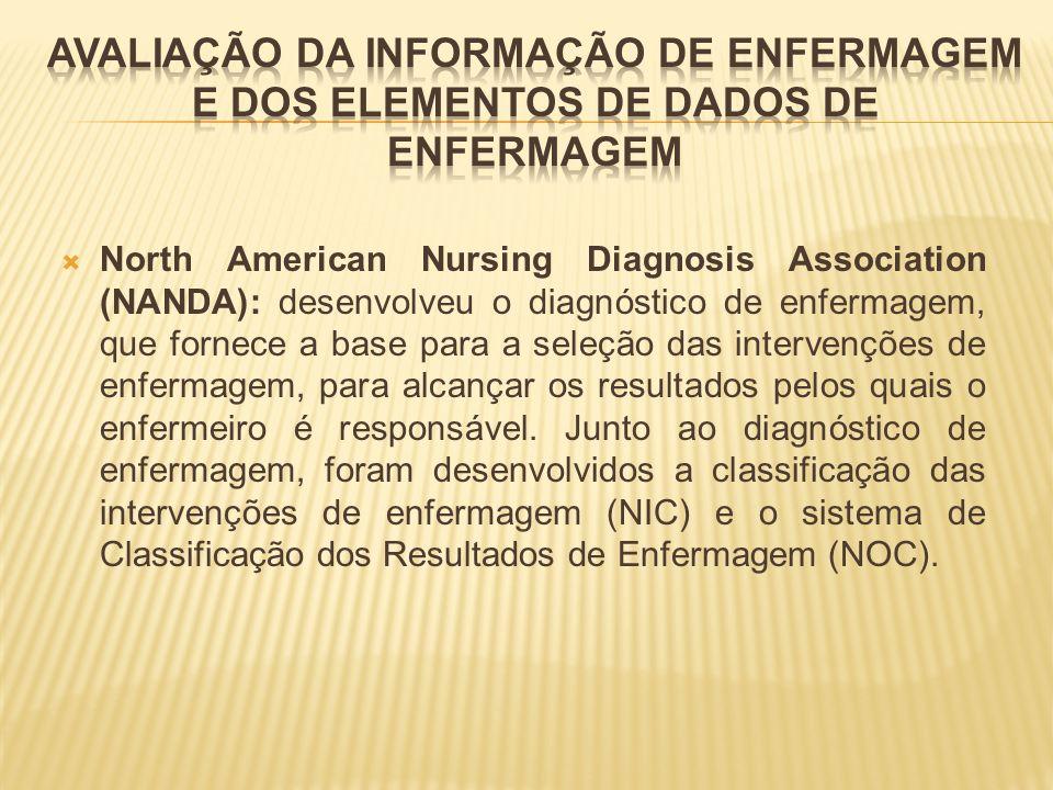 North American Nursing Diagnosis Association (NANDA): desenvolveu o diagnóstico de enfermagem, que fornece a base para a seleção das intervenções de e